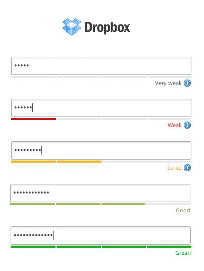 Оценка надёжности пароля в Dropbox